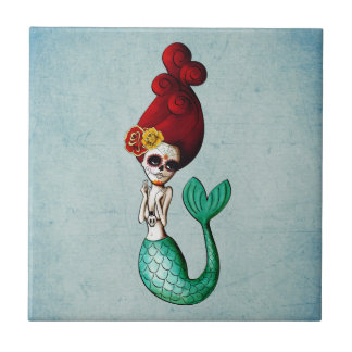 Dia de Los Muertos Beautiful Mermaid Ceramic Tile