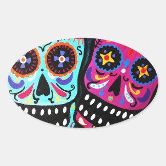 Dia de los Muertos Couple Oval Sticker