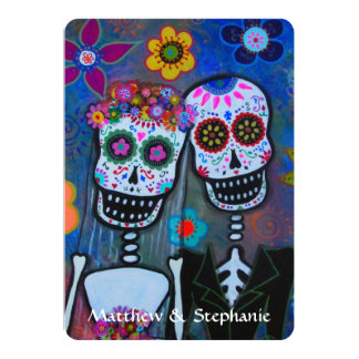 DIA DE LOS MUERTOS COUPLE WEDDING 13 CM X 18 CM INVITATION CARD