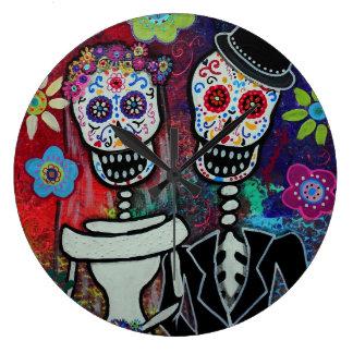 Dia de los Muertos Couple Wedding Lover Clocks