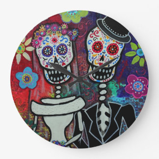 Dia de los Muertos Couple Wedding Lover Large Clock