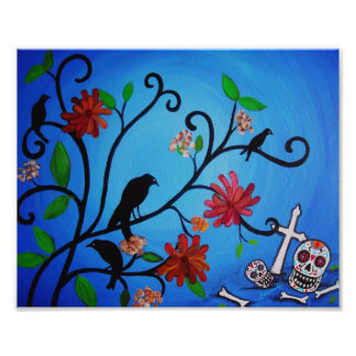 Dia de los Muertos Crows Painting Photo Print