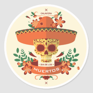 Dia De Los Muertos. Day of the Dead. Sugar Skull. Classic Round Sticker
