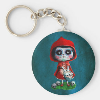 Dia de los Muertos Little Red Riding Hood Basic Round Button Key Ring