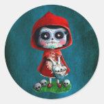 Dia de los Muertos Little Red Riding Hood Round Sticker
