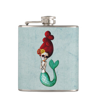 Dia de Los Muertos Lovely Mermaid Gal Hip Flask
