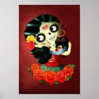 Dia de Los Muertos Lovely Mexican Catrina Girl Poster