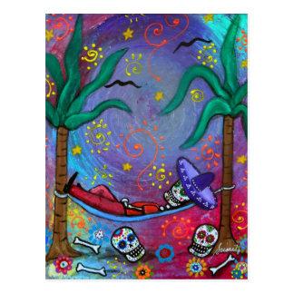 Dia de los Muertos mariachi Siesta by Prisarts Postcard