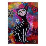 Dia de los Muertos Meow Cat by Prisarts Card