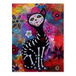 Dia de los Muertos Meow Cat by Prisarts Postcards