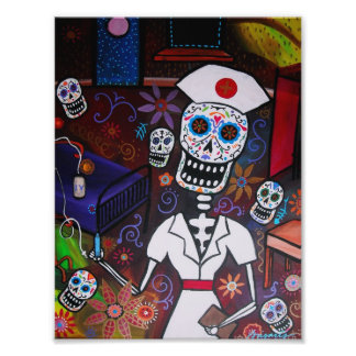 Dia de los Muertos Nurse Painting Photo Print