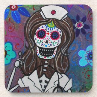 Dia de los Muertos Nurse RN Coaster