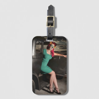 Dia de los Muertos Pin Up Girl Day of the Dead Luggage Tag