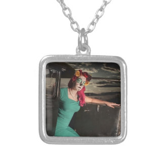 Dia de los Muertos Pin Up Girl Day of the Dead Silver Plated Necklace
