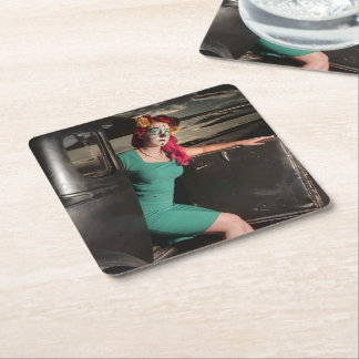 Dia de los Muertos Pin Up Girl Day of the Dead Square Paper Coaster