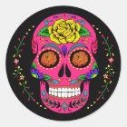 Día de los Muertos Pink Sugar Skull Halloween Classic Round Sticker