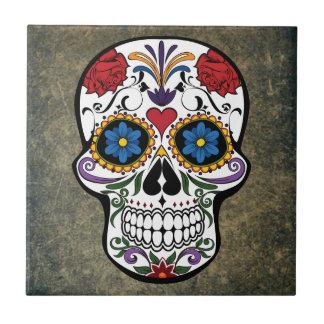 Dia De Los Muertos Red Roses Sugar Skull Ceramic Tile