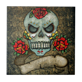 Dia De Los Muertos Rose Sugar Skull Small Square Tile