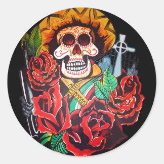 dia de los muertos round sticker