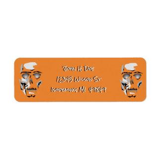 Dia de Los Muertos Skeleton Halloween Orange Label