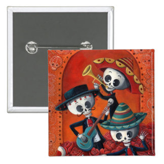 Dia de Los Muertos Skeleton Mariachi Trio 15 Cm Square Badge