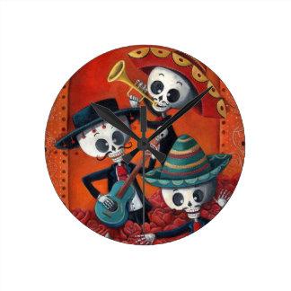 Dia de Los Muertos Skeleton Mariachi Trio Round Clock