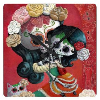 Dia de Los Muertos Skeletons Mother and Daughter Wall Clock