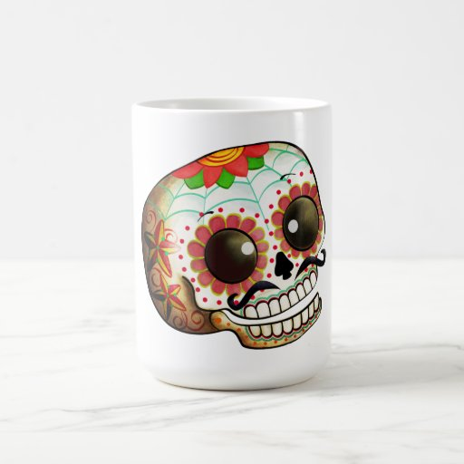 Dia De Los Muertos Sugar Skull Art Basic White Mug Zazzle