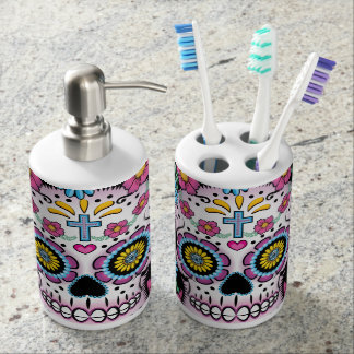 Dia de los Muertos Sugar Skull Soap Dispenser And Toothbrush Holder