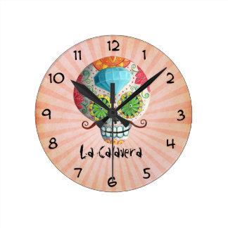 Dia de Los Muertos Sugar Skull with Mustaches Clock