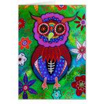 Dia de los Muertos talavera Wise Owl Greeting Card