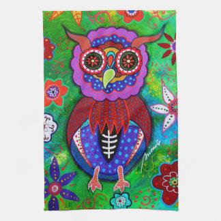 Dia de los Muertos talavera Wise Owl Tea Towel