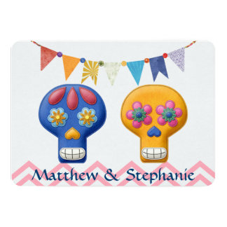 DIA DE LOS MUERTOS WEDDING 13 CM X 18 CM INVITATION CARD