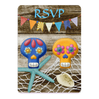 DIA DE LOS MUERTOS WEDDING RSVP 13 CM X 18 CM INVITATION CARD