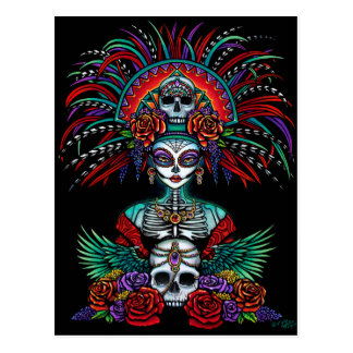 Dia De Muertos Suger Skull Mictecacihuatl Postcard