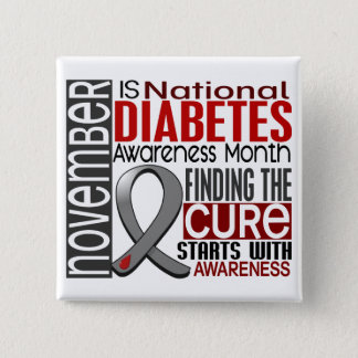 Diabetes Awareness Month Ribbon I2.5 15 Cm Square Badge
