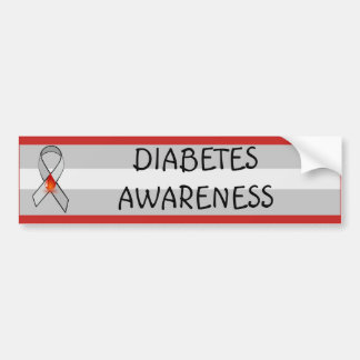 Diabetes Awareness Red and Gray Awareness Ribbon Bumper Sticker