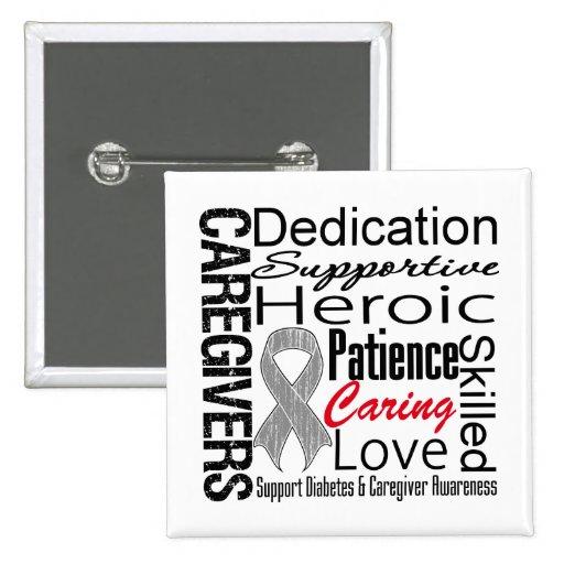 Diabetes Caregivers Collage Pinback Button