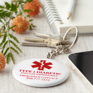 Diabetic Medical Information Basic Round Button Key Ring