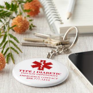 Diabetic Medical Information Basic Round Button Key Ring
