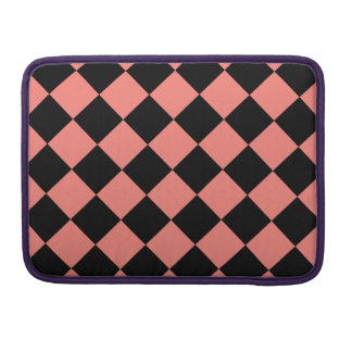 Diag Checkered - Black and Coral Pink MacBook Pro Sleeve