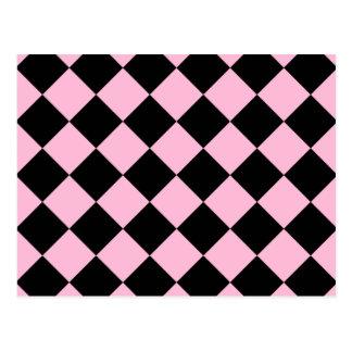 Diag Checkered - Black and Cotton Candy Postcard