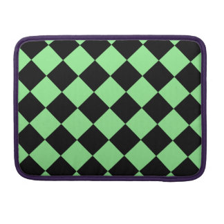 Diag Checkered - Black and Light Green Sleeves For MacBooks