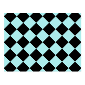 Diag Checkered - Black and Pale Blue Postcard