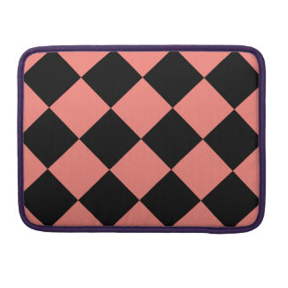 Diag Checkered Large - Black and Coral Pink MacBook Pro Sleeve