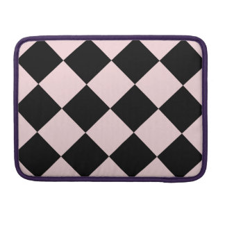 Diag Checkered Large - Black and Pale Pink Sleeves For MacBook Pro