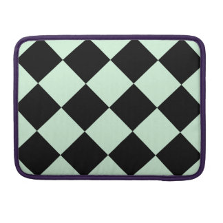 Diag Checkered Large - Black and Pastel Green Sleeves For MacBooks