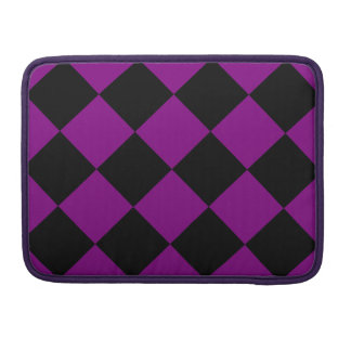 Diag Checkered Large - Black and Purple MacBook Pro Sleeve