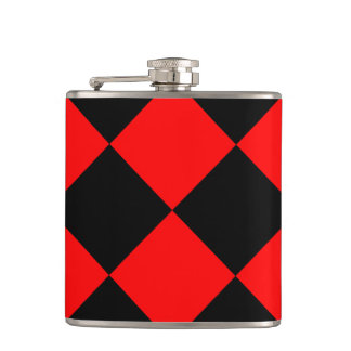 Diag Checkered Large - Black and Red Hip Flask