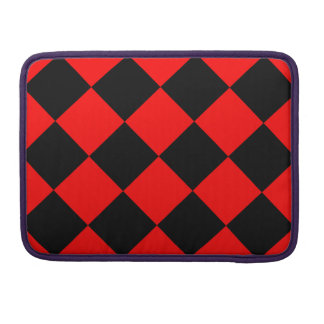 Diag Checkered Large - Black and Red MacBook Pro Sleeve